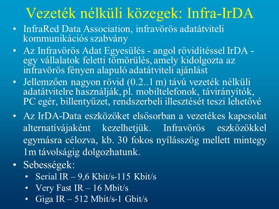 Vezeték nélküli közegek: Infra-IrDA •InfraRed Data Association, infravörös adatátviteli kommunikációs szabvány •Az Infravörös Adat Egyesülés - angol r