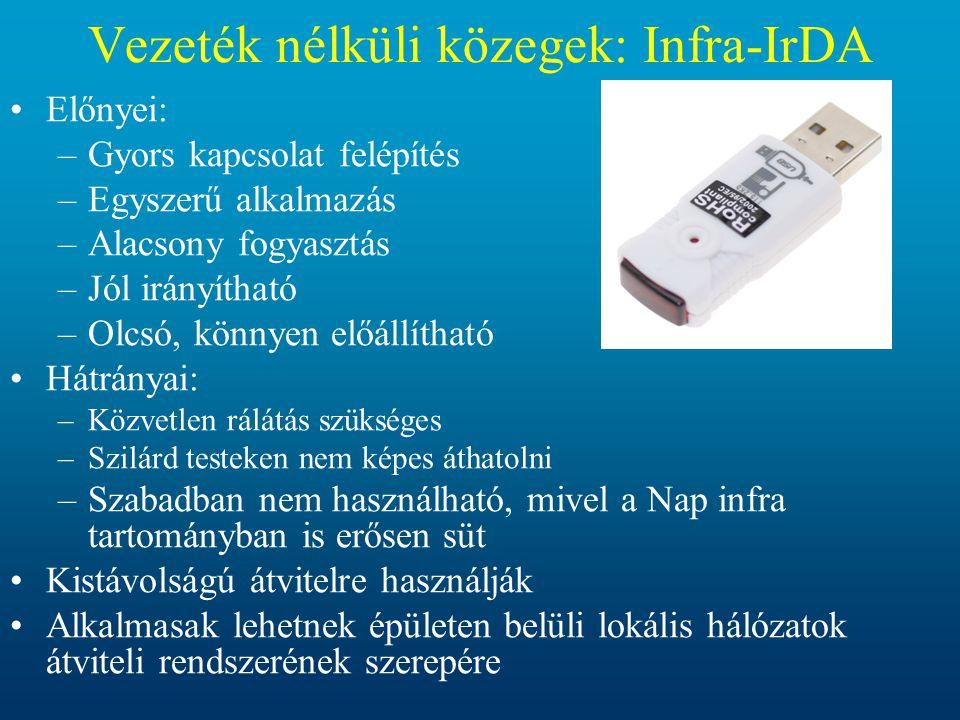 Vezeték nélküli közegek: Infra-IrDA •Előnyei: –Gyors kapcsolat felépítés –Egyszerű alkalmazás –Alacsony fogyasztás –Jól irányítható –Olcsó, könnyen el