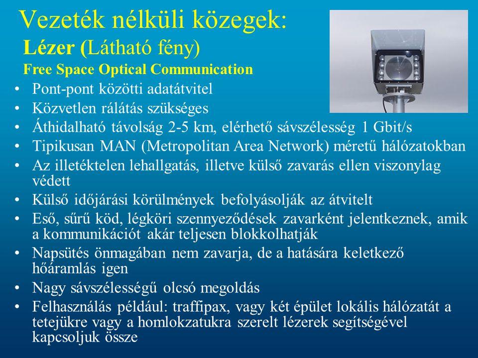 Vezeték nélküli közegek: Lézer (Látható fény) Free Space Optical Communication •Pont-pont közötti adatátvitel •Közvetlen rálátás szükséges •Áthidalhat