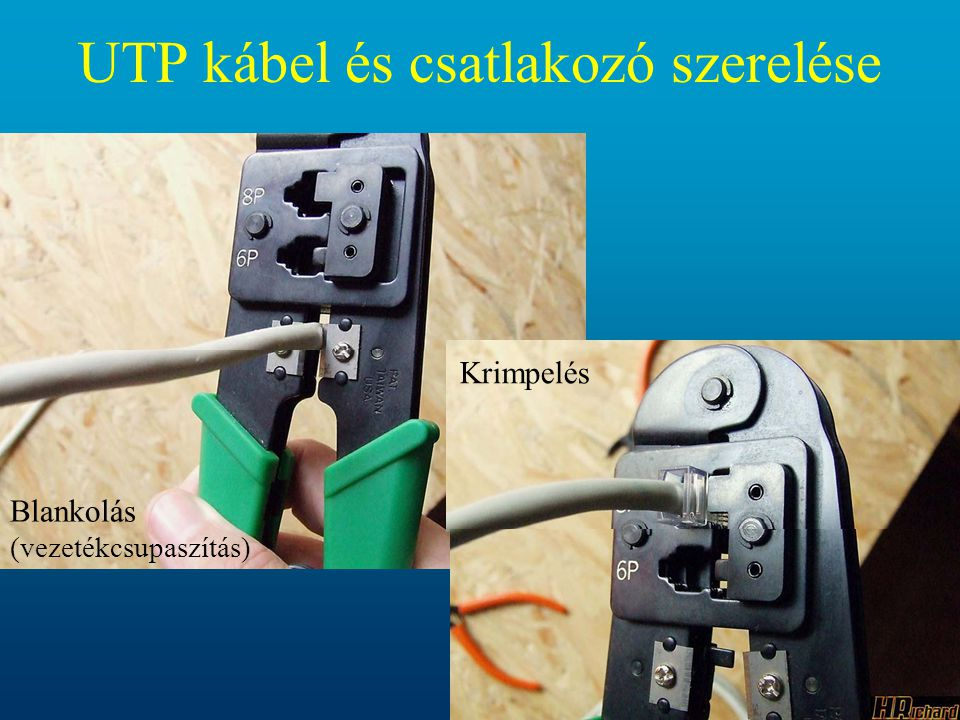 • Osztályozás: -CAT1: telefonkábel (2 Mbit/s, hangátvitel, 2 érpár) -CAT2: maximum 4 Mbit/s, 84-113 ohm (Local Talk) -CAT3: 100 ohm 10 Mbit/s 100 m, Csillag topológia, Ethernet -CAT4: 100 ohm 20 Mbit/s 100 m (16 Mbit/s Token Ring) -CAT5: 100 ohm 100 Mbit/s 100 m (Fast Ethernet), csillag topológia -CAT6: 100 ohm 1000 Mbit/s 100 m -CAT7: 100 ohm 1200 Mbit/s 100 m A felsőbb kategóriás kábelek visszafelé kompatibilisek.