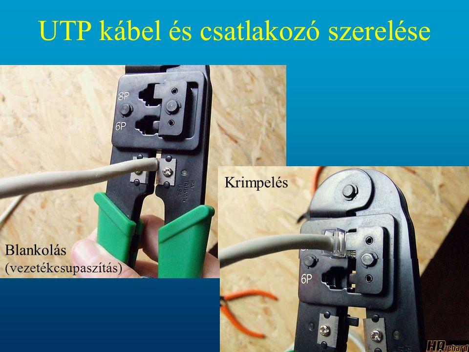 Blankolás (vezetékcsupaszítás) Krimpelés UTP kábel és csatlakozó szerelése