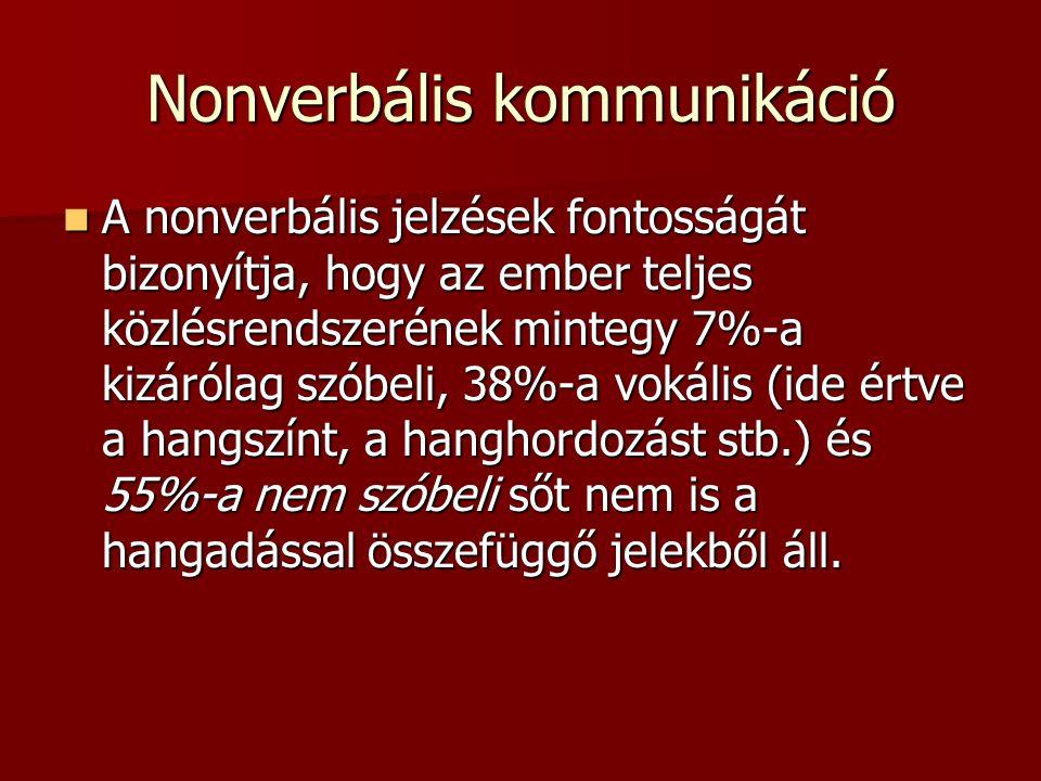Nonverbális kommunikáció  A nonverbális jelzések fontosságát bizonyítja, hogy az ember teljes közlésrendszerének mintegy 7%-a kizárólag szóbeli, 38%-a vokális (ide értve a hangszínt, a hanghordozást stb.) és 55%-a nem szóbeli sőt nem is a hangadással összefüggő jelekből áll.