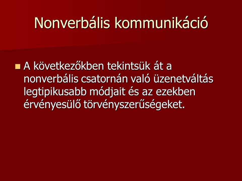 Nonverbális kommunikáció  A következőkben tekintsük át a nonverbális csatornán való üzenetváltás legtipikusabb módjait és az ezekben érvényesülő törvényszerűségeket.