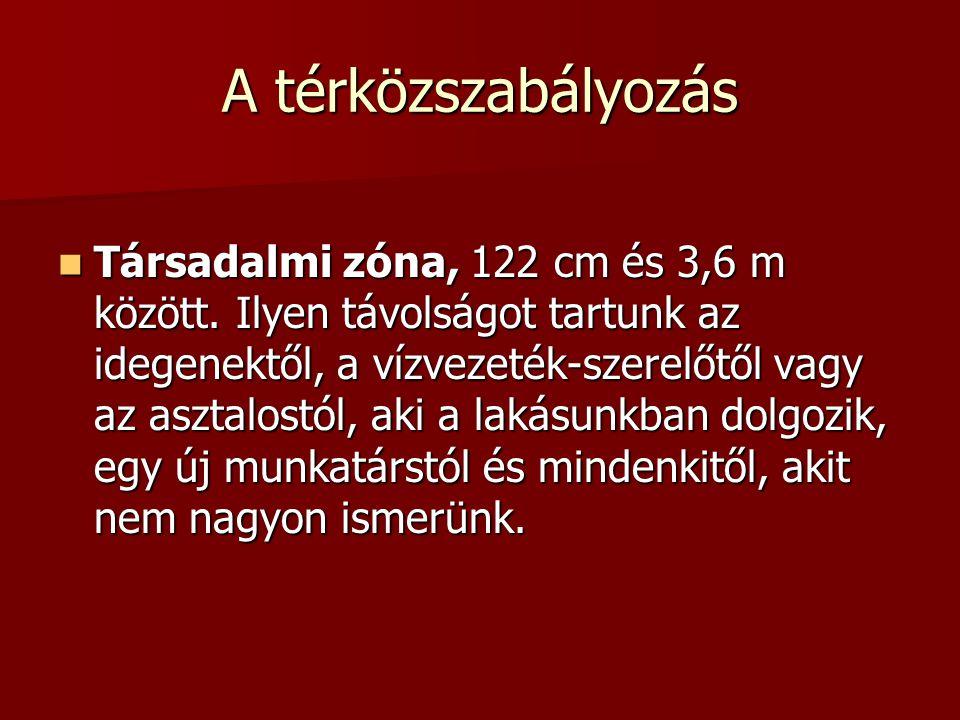 A térközszabályozás  Társadalmi zóna, 122 cm és 3,6 m között.