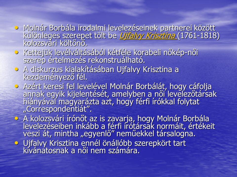 • Molnár Borbála irodalmi levelezéseinek partnerei között különleges szerepet tölt be Ujfalvy Krisztina (1761-1818) kolozsvári költőnő. Ujfalvy Kriszt