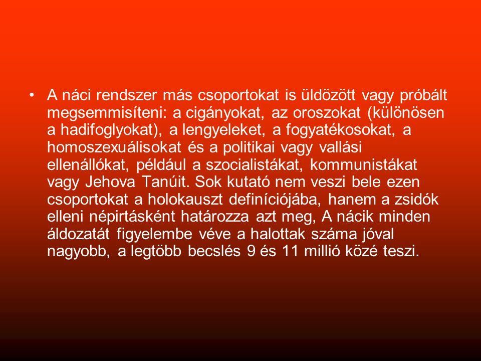 •A náci rendszer más csoportokat is üldözött vagy próbált megsemmisíteni: a cigányokat, az oroszokat (különösen a hadifoglyokat), a lengyeleket, a fogyatékosokat, a homoszexuálisokat és a politikai vagy vallási ellenállókat, például a szocialistákat, kommunistákat vagy Jehova Tanúit.