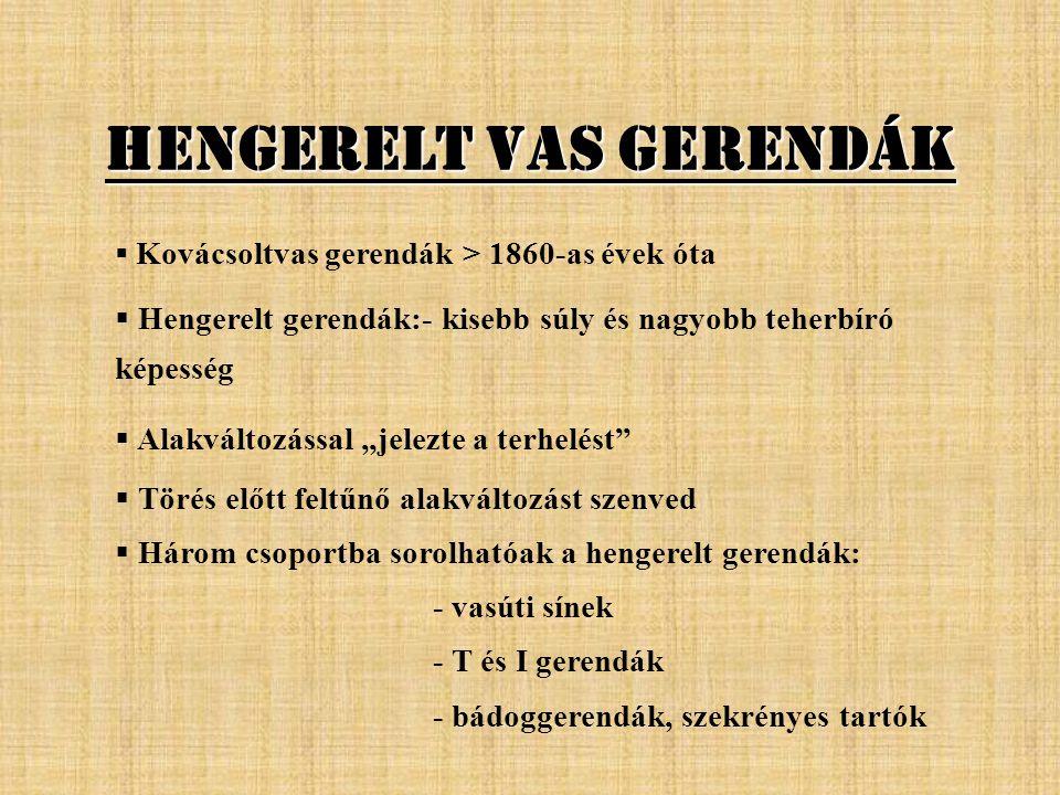 Hengerelt Vas Gerendák  K Kovácsoltvas gerendák > 1860-as évek óta  Hengerelt gerendák:- kisebb súly és nagyobb teherbíró képesség  Alakváltozássa