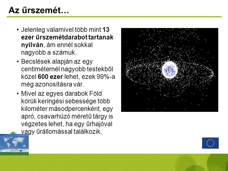 Az űrszemét… •Jelenleg valamivel több mint 13 ezer űrszemétdarabot tartanak nyilván, ám ennél sokkal nagyobb a számuk. •Becslések alapján az egy centi