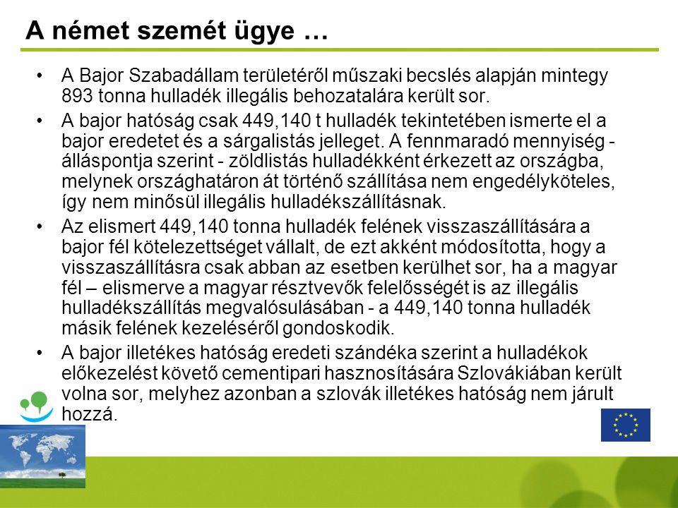 A német szemét ügye … •A Bajor Szabadállam területéről műszaki becslés alapján mintegy 893 tonna hulladék illegális behozatalára került sor. •A bajor