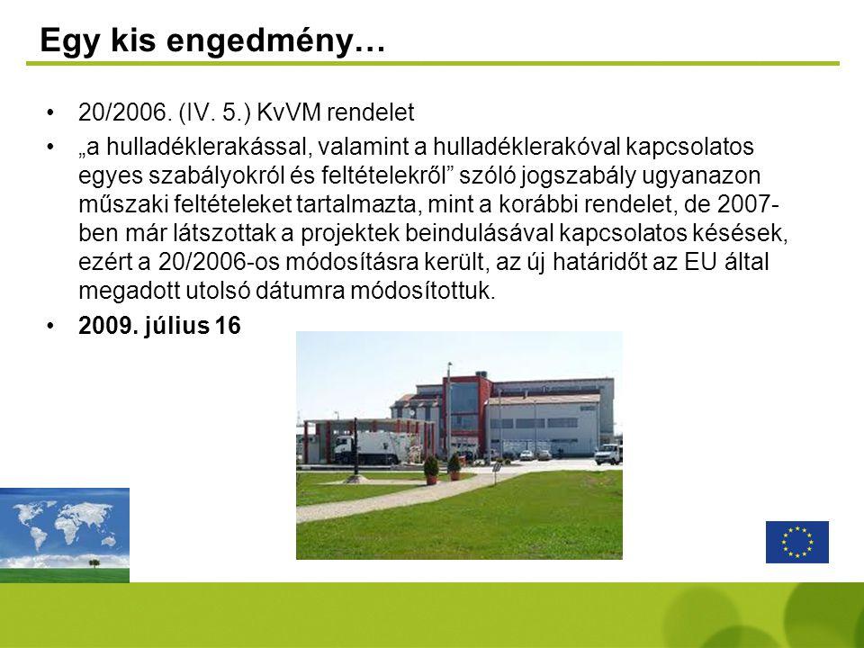 """Egy kis engedmény… •20/2006. (IV. 5.) KvVM rendelet •""""a hulladéklerakással, valamint a hulladéklerakóval kapcsolatos egyes szabályokról és feltételekr"""