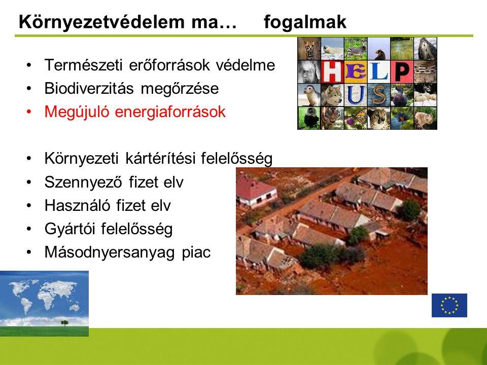 Környezetvédelem ma… fogalmak •Természeti erőforrások védelme •Biodiverzitás megőrzése •Megújuló energiaforrások •Környezeti kártérítési felelősség •S