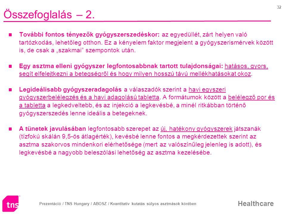 Prezentáció / TNS Hungary / ABOSZ / Kvantitatív kutatás súlyos asztmások körében Healthcare 32 Összefoglalás – 2.