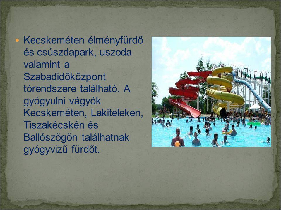  Kecskeméten élményfürdő és csúszdapark, uszoda valamint a Szabadidőközpont tórendszere található.