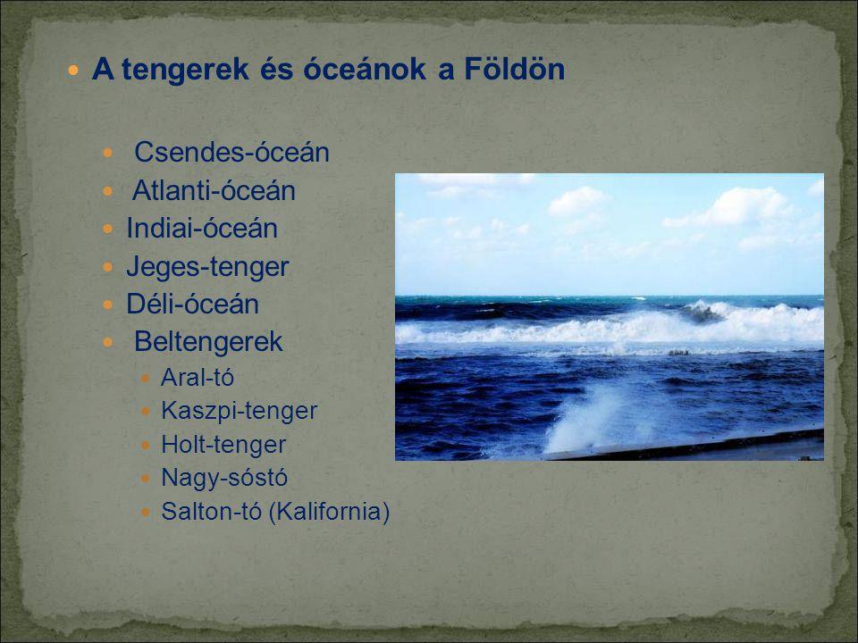  A tengerek és óceánok a Földön  Csendes-óceán  Atlanti-óceán  Indiai-óceán  Jeges-tenger  Déli-óceán  Beltengerek  Aral-tó  Kaszpi-tenger  Holt-tenger  Nagy-sóstó  Salton-tó (Kalifornia)