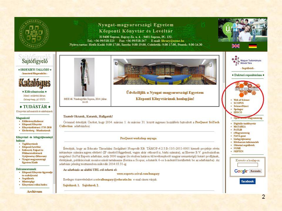 Science Direct 23 Szolgáltató: Elsevier B.V.
