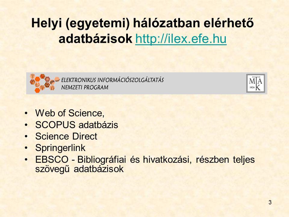 3 Helyi (egyetemi) hálózatban elérhető adatbázisok http://ilex.efe.huhttp://ilex.efe.hu •Web of Science, •SCOPUS adatbázis •Science Direct •Springerlink •EBSCO - Bibliográfiai és hivatkozási, részben teljes szövegű adatbázisok