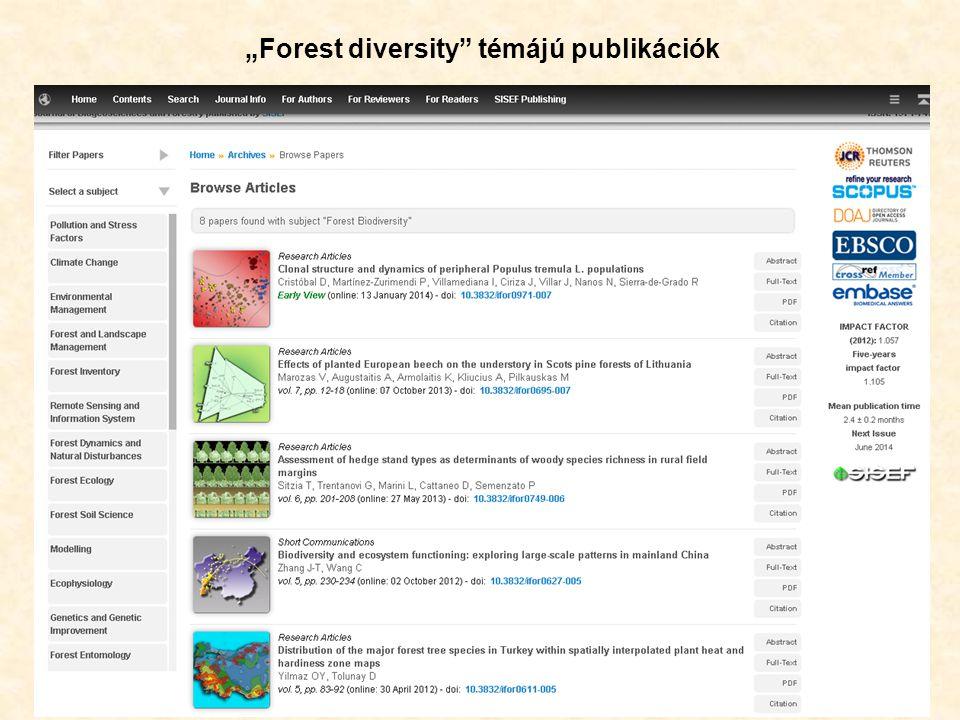 """51 """"Forest diversity témájú publikációk"""