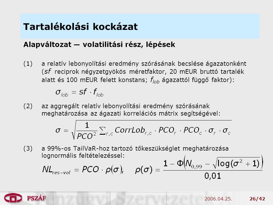 2006.04.25.26/42 Tartalékolási kockázat Alapváltozat — volatilitási rész, lépések (1)a relatív lebonyolítási eredmény szórásának becslése ágazatonként ( sf reciprok négyzetgyökös méretfaktor, 20 mEUR bruttó tartalék alatt és 100 mEUR felett konstans; f lob ágazattól függő faktor): (2)az aggregált relatív lebonyolítási eredmény szórásának meghatározása az ágazati korrelációs mátrix segítségével: (3)a 99%-os TailVaR-hoz tartozó tőkeszükséglet meghatározása lognormális feltételezéssel: