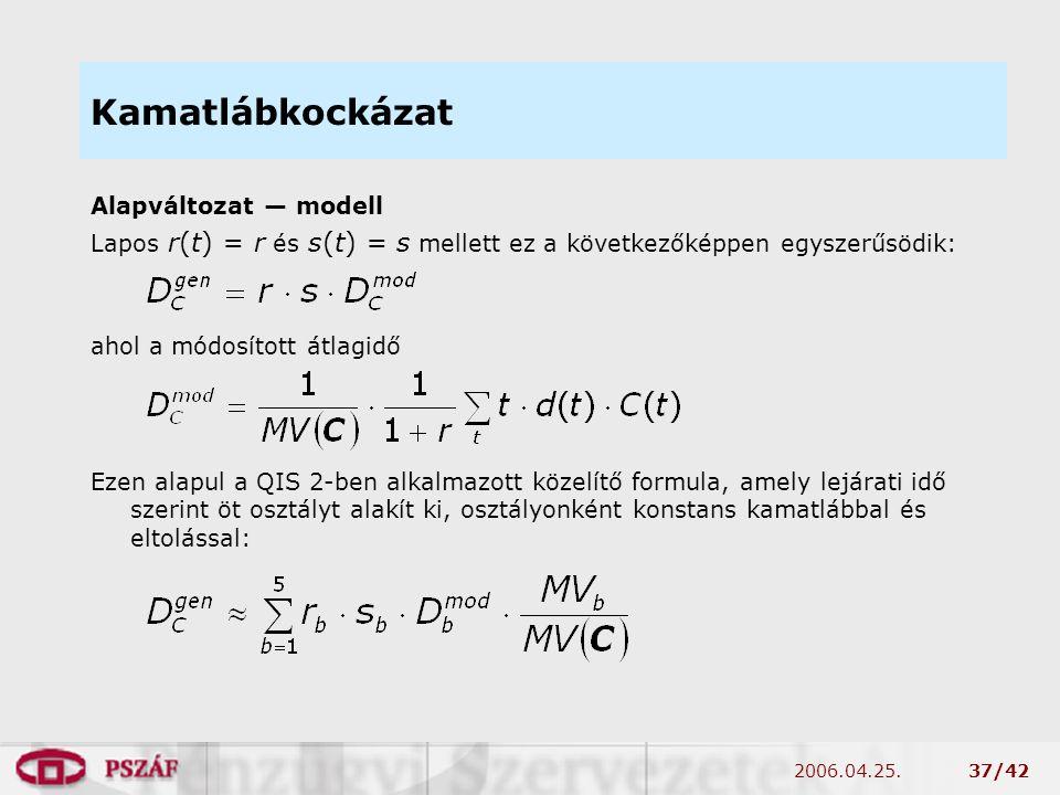 2006.04.25.37/42 Kamatlábkockázat Alapváltozat — modell Lapos r(t) = r és s(t) = s mellett ez a következőképpen egyszerűsödik: ahol a módosított átlagidő Ezen alapul a QIS 2-ben alkalmazott közelítő formula, amely lejárati idő szerint öt osztályt alakít ki, osztályonként konstans kamatlábbal és eltolással: