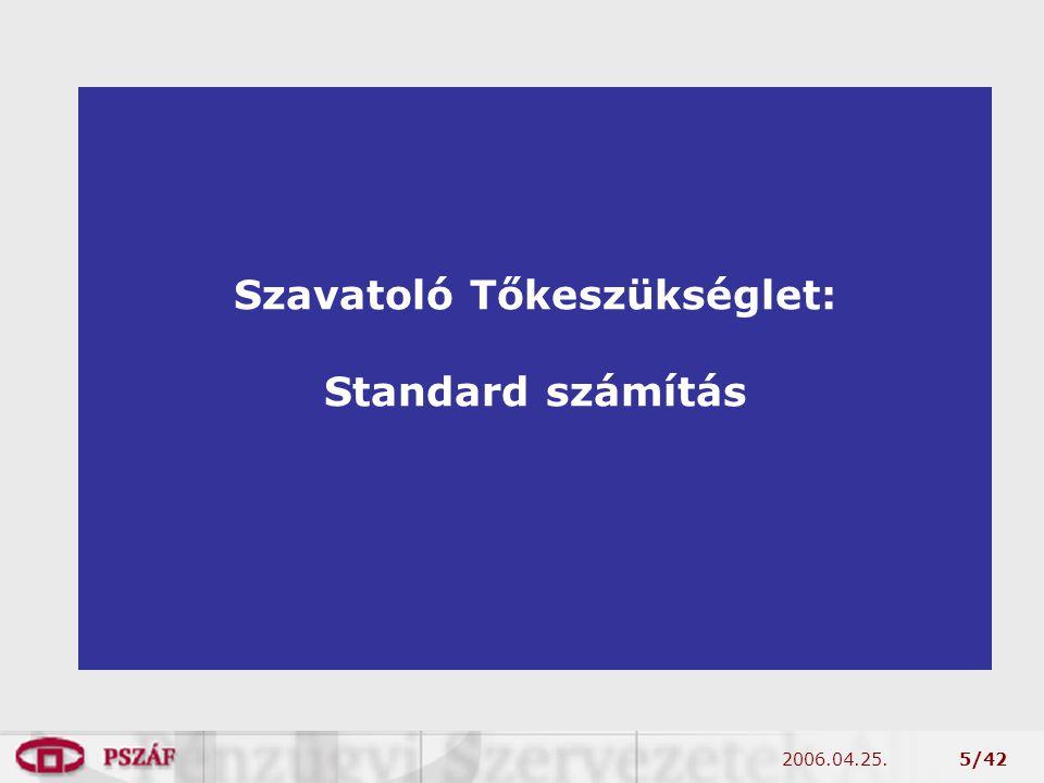 2006.04.25.5/42 Szavatoló Tőkeszükséglet: Standard számítás