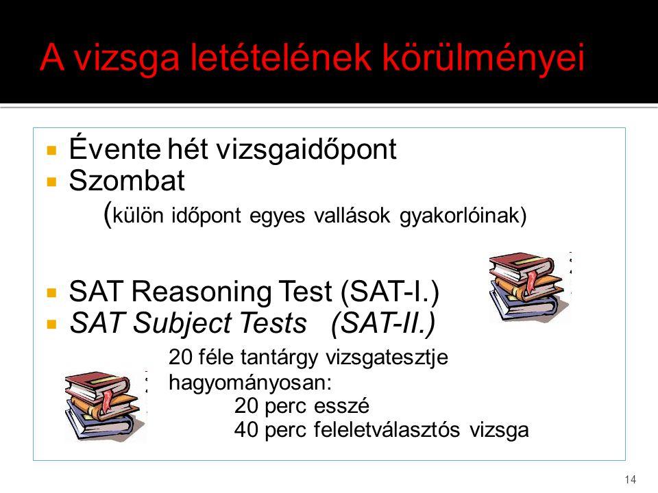 14  Évente hét vizsgaidőpont  Szombat ( külön időpont egyes vallások gyakorlóinak)  SAT Reasoning Test (SAT-I.)  SAT Subject Tests (SAT-II.) 20 fé