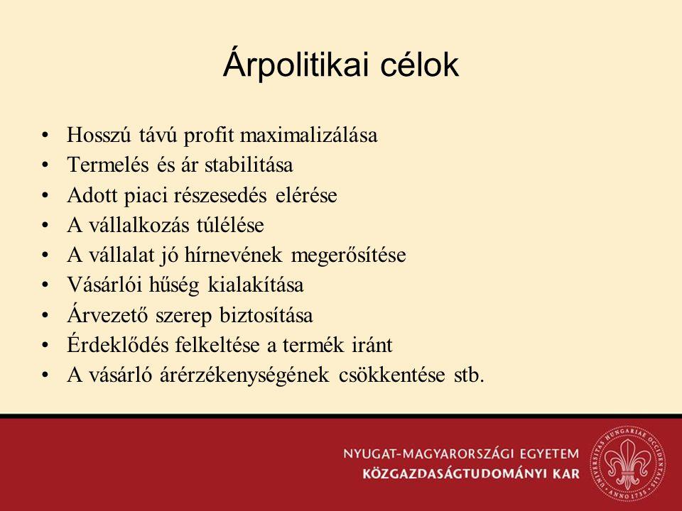 Árpolitikai célok •Hosszú távú profit maximalizálása •Termelés és ár stabilitása •Adott piaci részesedés elérése •A vállalkozás túlélése •A vállalat j