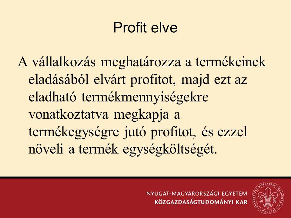 Profit elve A vállalkozás meghatározza a termékeinek eladásából elvárt profitot, majd ezt az eladható termékmennyiségekre vonatkoztatva megkapja a ter