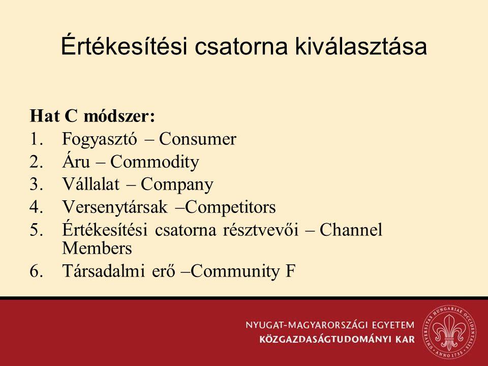 Értékesítési csatorna kiválasztása Hat C módszer: 1.Fogyasztó – Consumer 2.Áru – Commodity 3.Vállalat – Company 4.Versenytársak –Competitors 5.Értékes