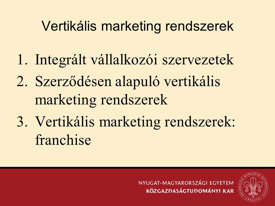 Vertikális marketing rendszerek 1.Integrált vállalkozói szervezetek 2.Szerződésen alapuló vertikális marketing rendszerek 3.Vertikális marketing rends