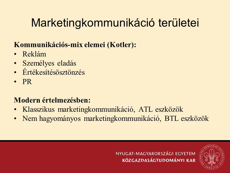 Marketingkommunikáció területei Kommunikációs-mix elemei (Kotler): •Reklám •Személyes eladás •Értékesítésösztönzés •PR Modern értelmezésben: •Klasszik