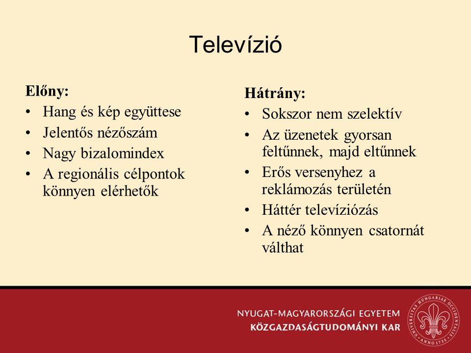 Televízió Előny: •Hang és kép együttese •Jelentős nézőszám •Nagy bizalomindex •A regionális célpontok könnyen elérhetők Hátrány: •Sokszor nem szelektí