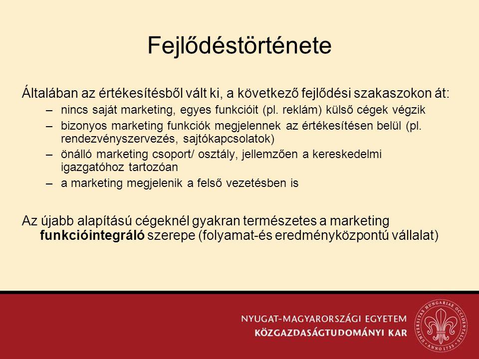Fejlődéstörténete Általában az értékesítésből vált ki, a következő fejlődési szakaszokon át: –nincs saját marketing, egyes funkcióit (pl. reklám) küls