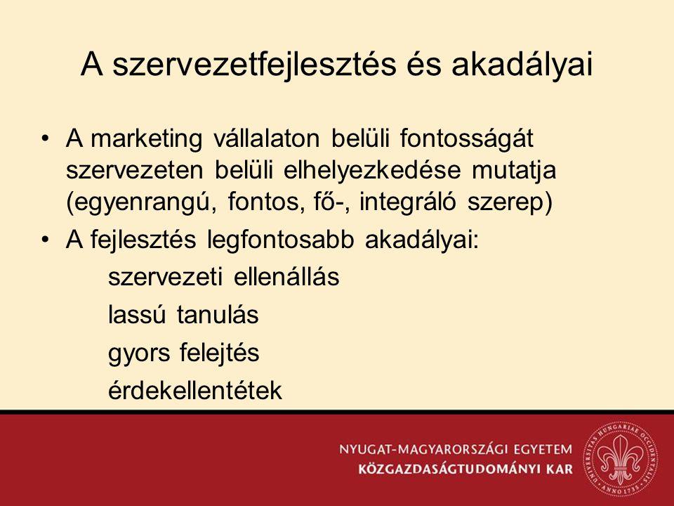 A szervezetfejlesztés és akadályai •A marketing vállalaton belüli fontosságát szervezeten belüli elhelyezkedése mutatja (egyenrangú, fontos, fő-, inte