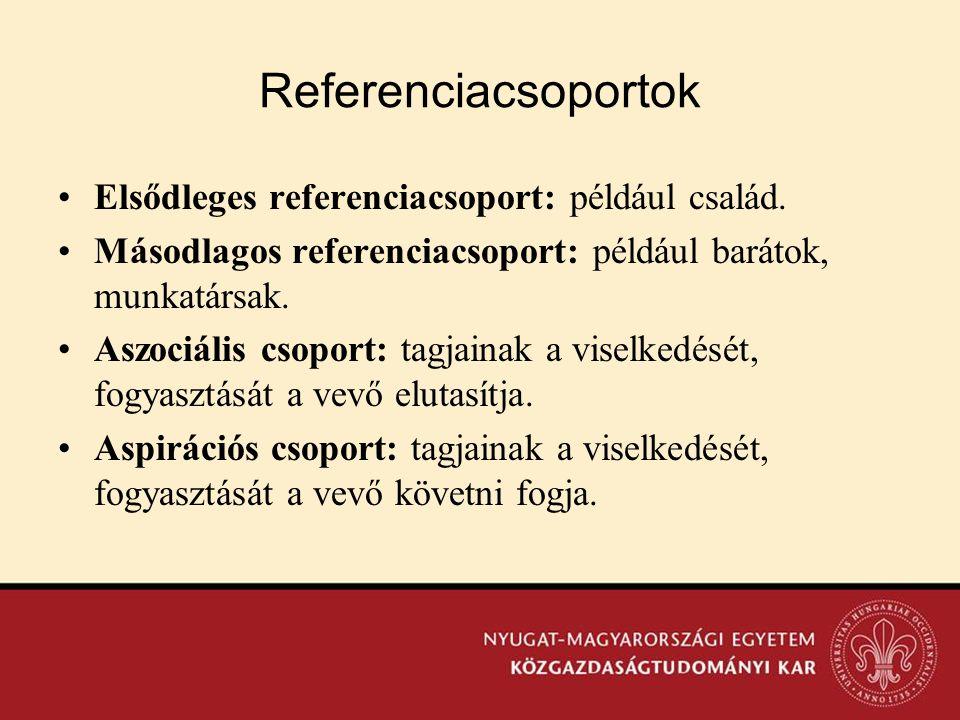 Referenciacsoportok •Elsődleges referenciacsoport: például család. •Másodlagos referenciacsoport: például barátok, munkatársak. •Aszociális csoport: t