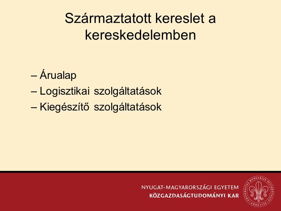 Származtatott kereslet a kereskedelemben –Árualap –Logisztikai szolgáltatások –Kiegészítő szolgáltatások