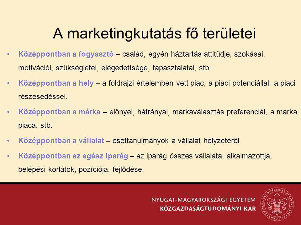 A marketingkutatás fő területei •Középpontban a fogyasztó – család, egyén háztartás attitűdje, szokásai, motivációi, szükségletei, elégedettsége, tapa