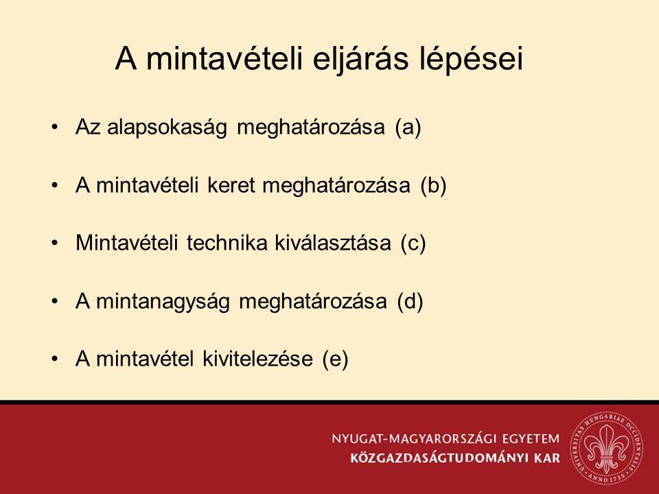 A mintavételi eljárás lépései •Az alapsokaság meghatározása (a) •A mintavételi keret meghatározása (b) •Mintavételi technika kiválasztása (c) •A minta