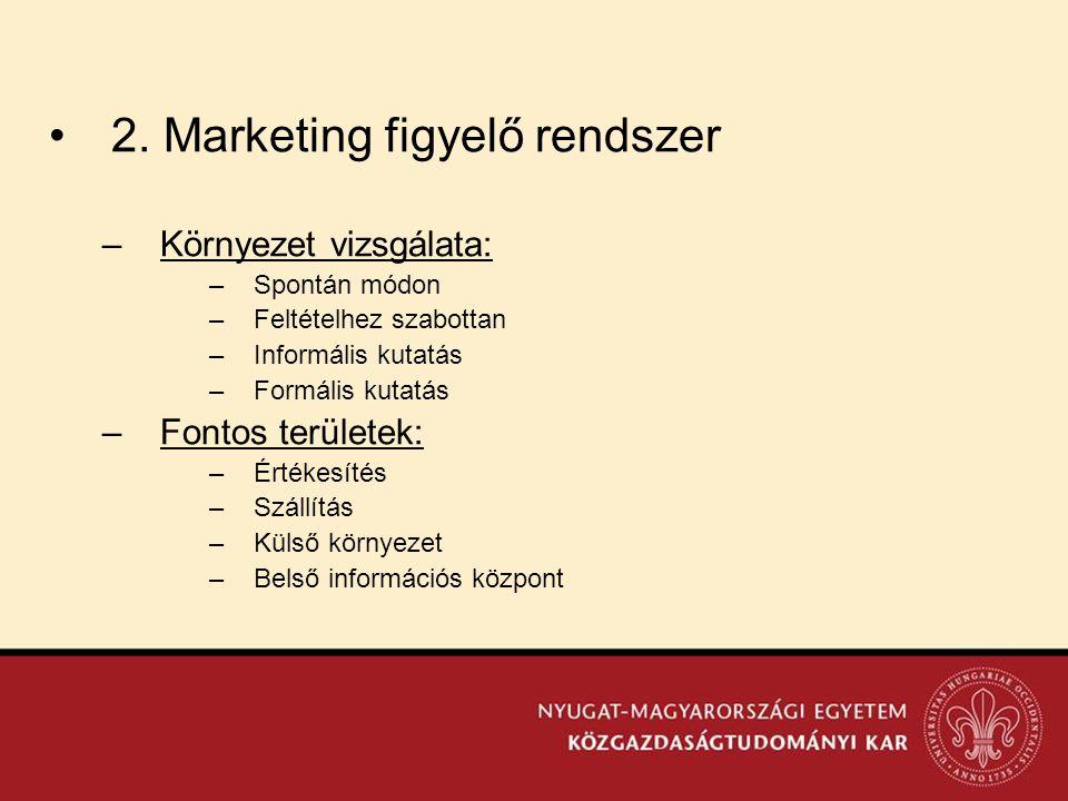 •2. Marketing figyelő rendszer –Környezet vizsgálata: –Spontán módon –Feltételhez szabottan –Informális kutatás –Formális kutatás –Fontos területek: –