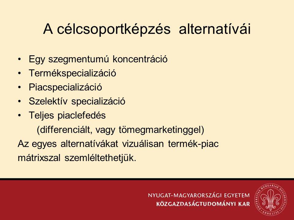 A célcsoportképzés alternatívái •Egy szegmentumú koncentráció •Termékspecializáció •Piacspecializáció •Szelektív specializáció •Teljes piaclefedés (di
