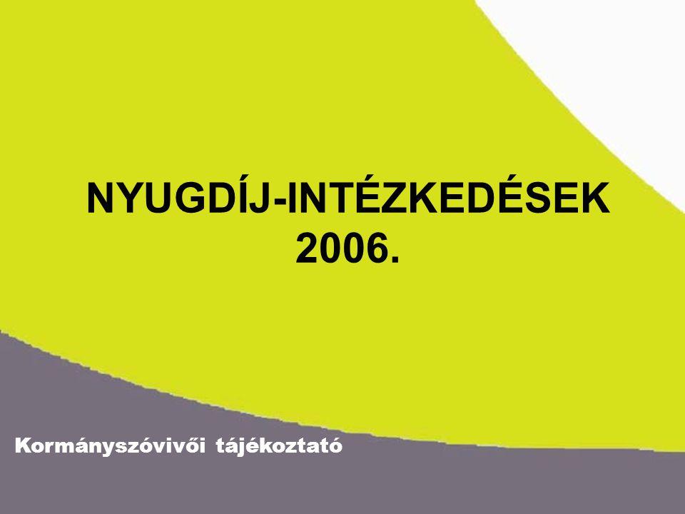 Kormányszóvivői tájékoztató NYUGDÍJ-INTÉZKEDÉSEK 2006.