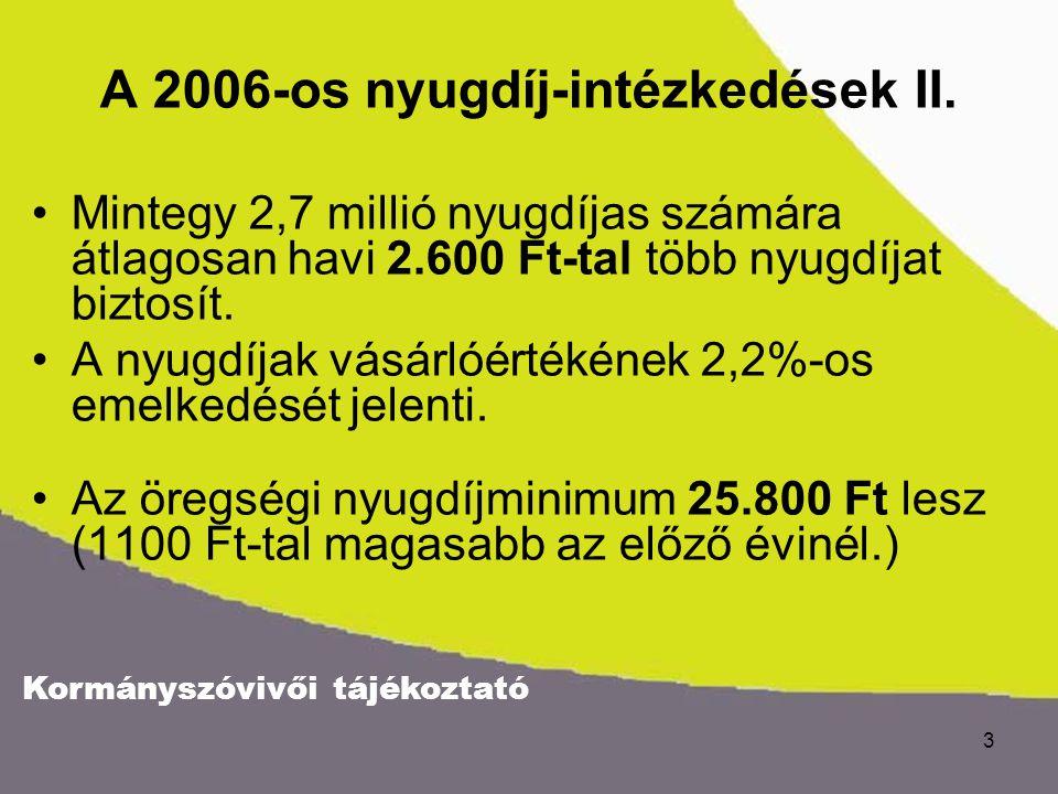 Kormányszóvivői tájékoztató 3 A 2006-os nyugdíj-intézkedések II.