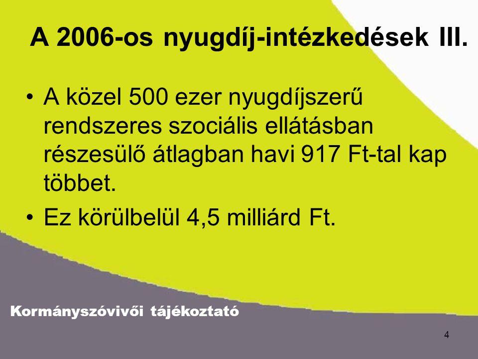Kormányszóvivői tájékoztató 4 A 2006-os nyugdíj-intézkedések III.