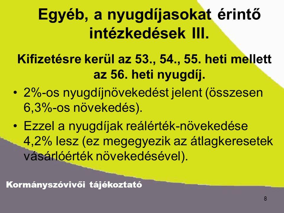 Kormányszóvivői tájékoztató 8 Egyéb, a nyugdíjasokat érintő intézkedések III.