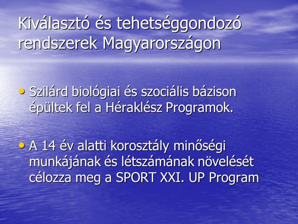 Kiválasztó és tehetséggondozó rendszerek Magyarországon • Szilárd biológiai és szociális bázison épültek fel a Héraklész Programok. • A 14 év alatti k