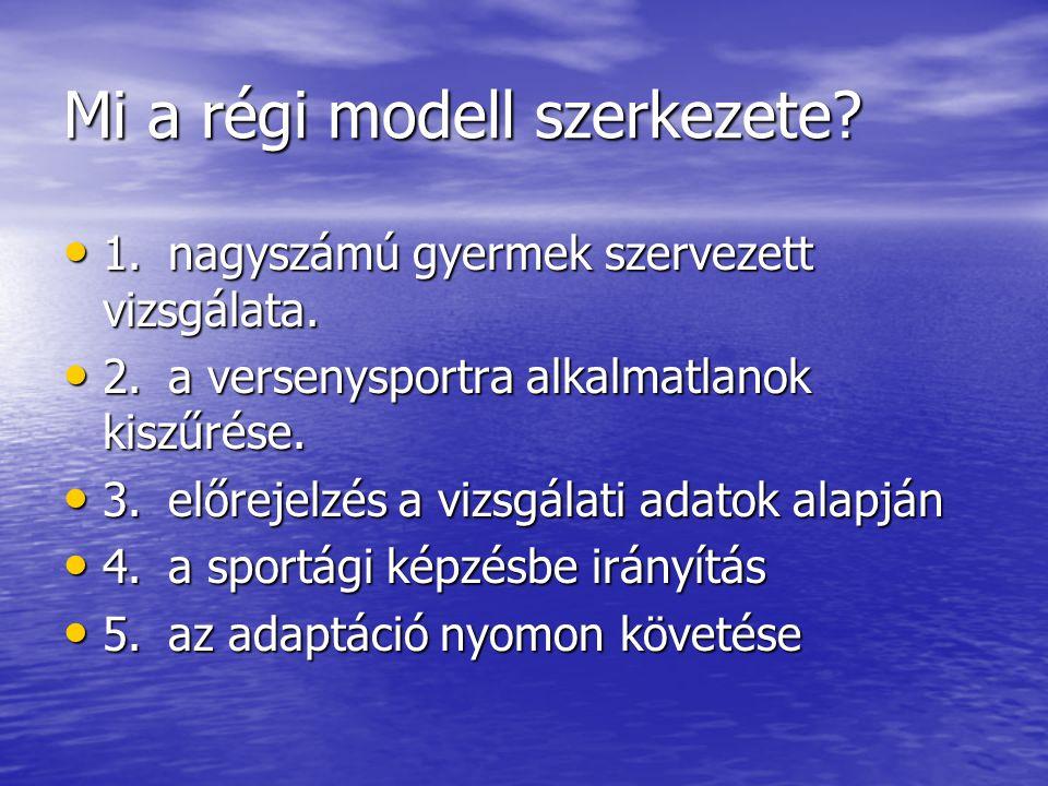 Mi a régi modell szerkezete? • 1.nagyszámú gyermek szervezett vizsgálata. • 2.a versenysportra alkalmatlanok kiszűrése. • 3.előrejelzés a vizsgálati a