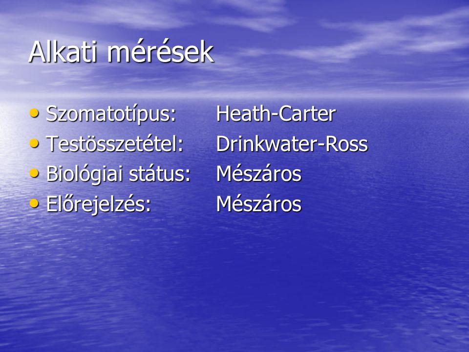 Alkati mérések • Szomatotípus:Heath-Carter • Testösszetétel:Drinkwater-Ross • Biológiai státus:Mészáros • Előrejelzés:Mészáros