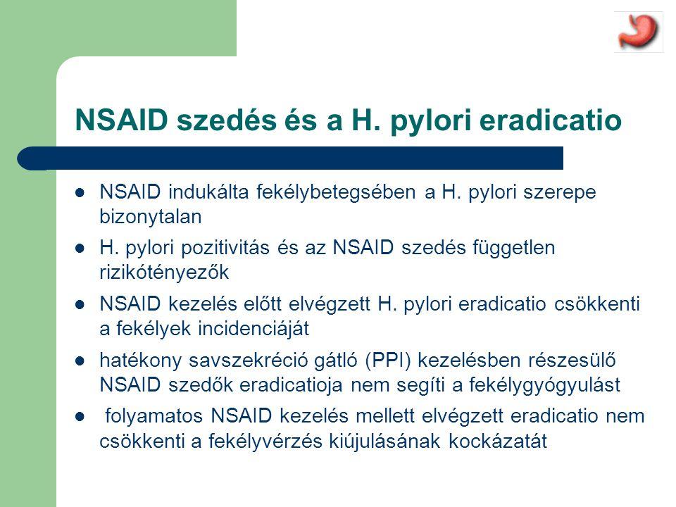 NSAID szedés és a H.pylori eradicatio  NSAID indukálta fekélybetegsében a H.
