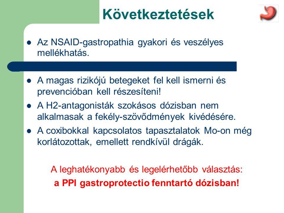 Következtetések  Az NSAID-gastropathia gyakori és veszélyes mellékhatás.