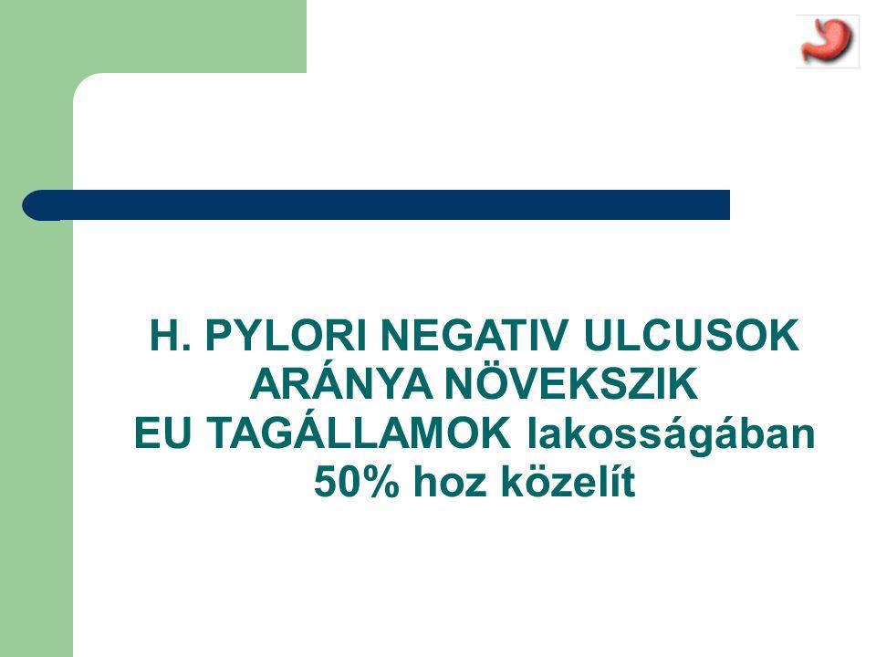 NSAID-gastroprotectio • PPI: a jelenlegi leghatékonyabb megoldás • H2-antagonista: th-s dózis szükséges a nyombélfekély prevencióhoz, de a gyomorfekélyt így sem képes kellő hatékonysággal megelőzni; » a fekély-szövődményeket szokásos dózisban nem védi ki a H2-antagonista.