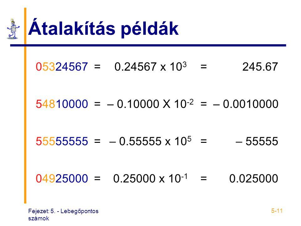 Fejezet: 5. - Lebegőpontos számok 5-11 Átalakítás példák 05324567=0.24567 x 10 3 =245.67 54810000=– 0.10000 X 10 -2 =– 0.0010000 55555555=– 0.55555 x